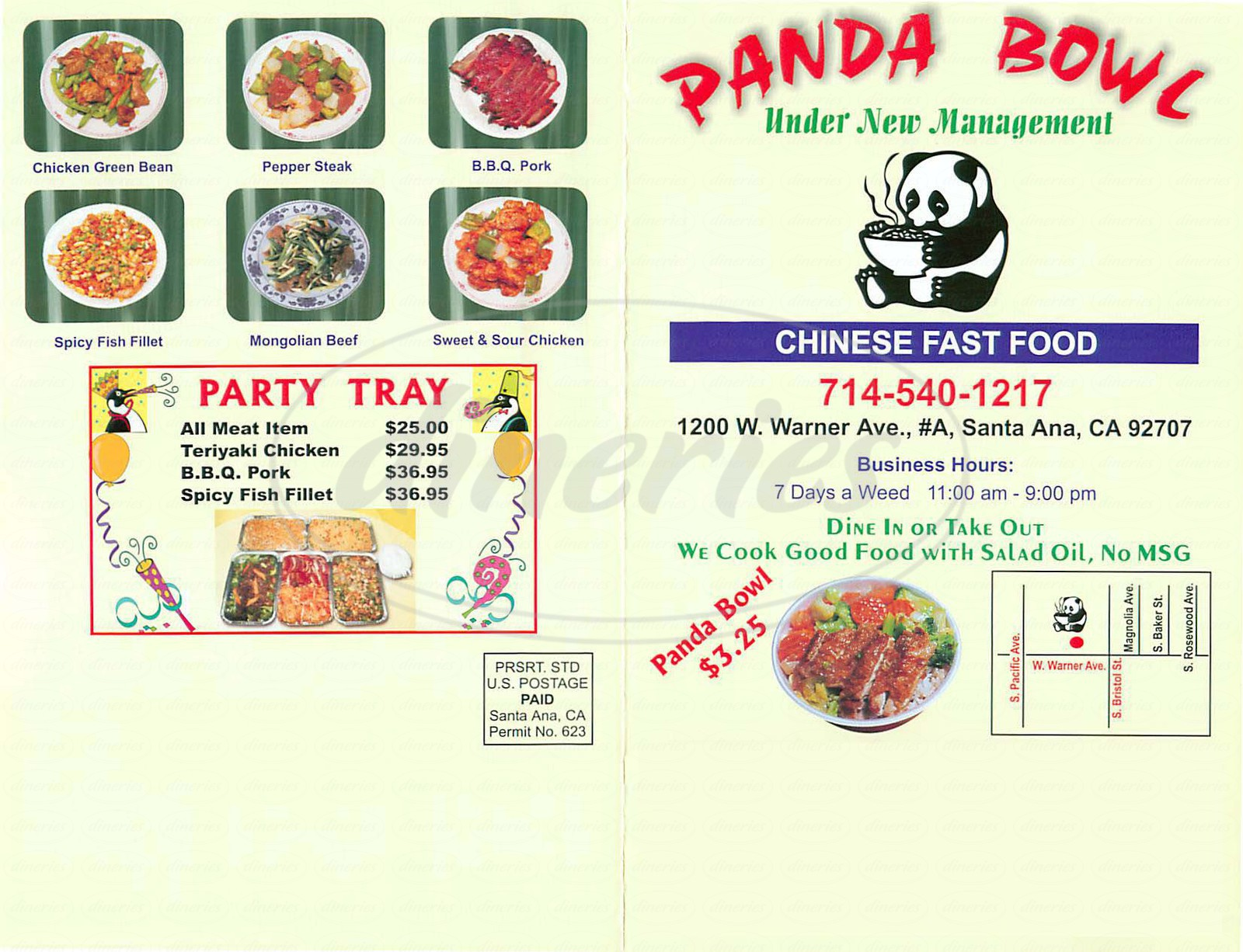 menu for Panda Bowl