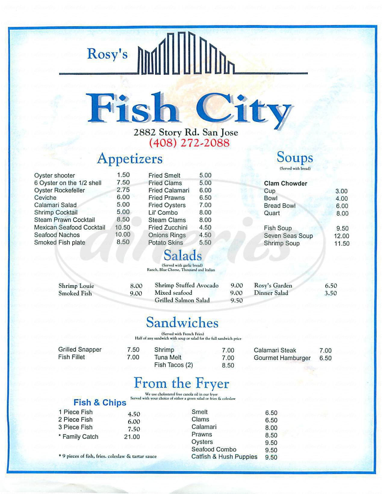 menu for Rosys Fish City
