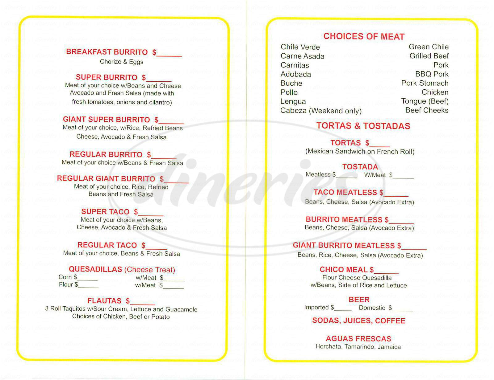 menu for Super Taqueria