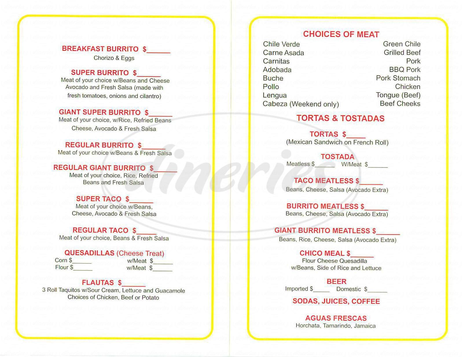 menu for Super Taqueria