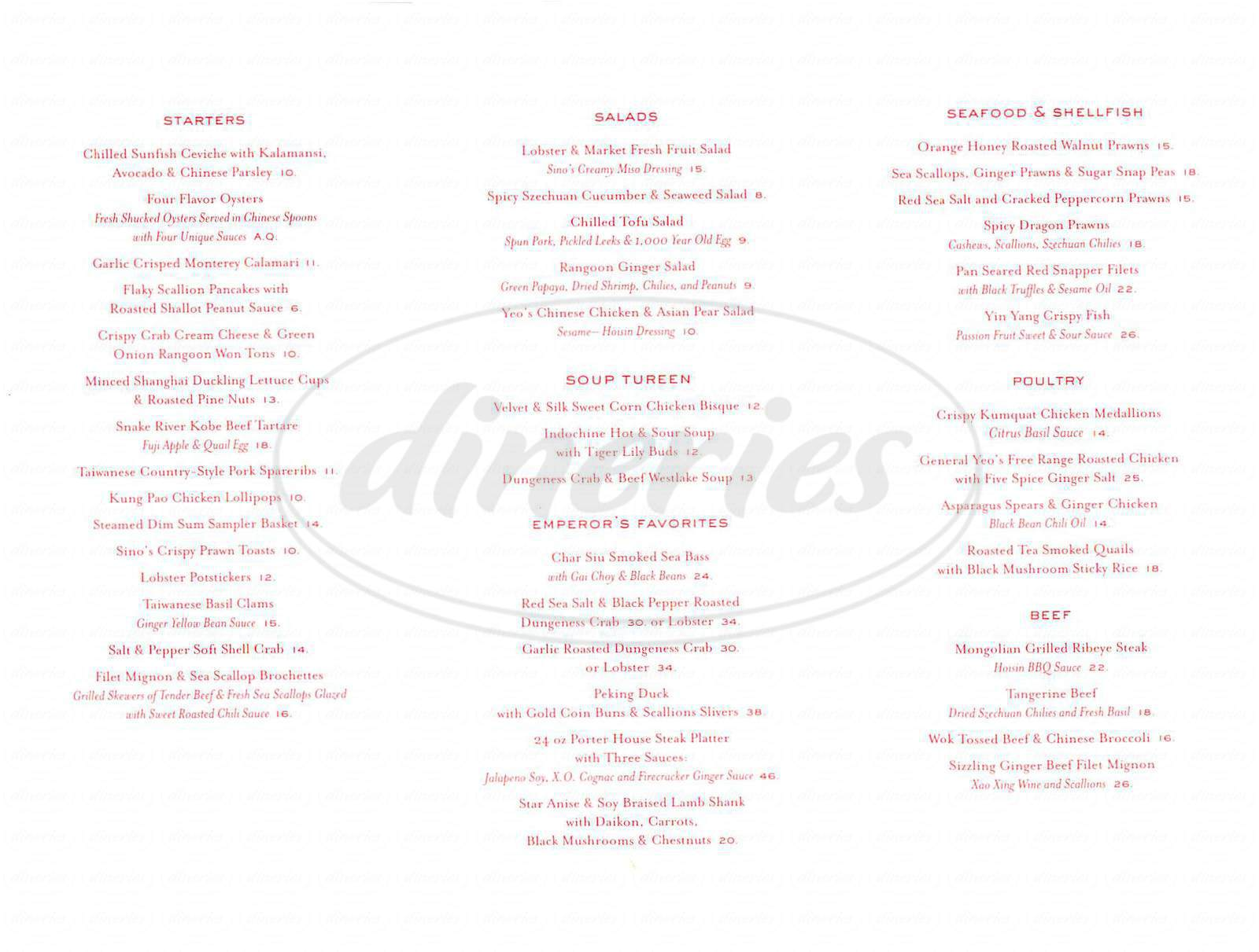 menu for Sino Restaurant
