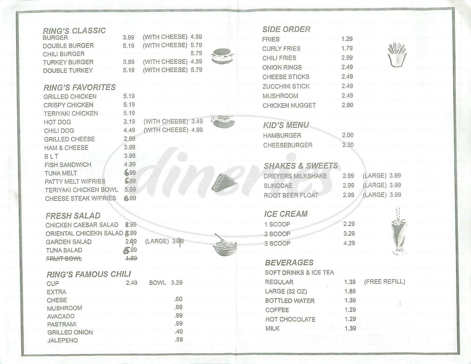 menu for Rings Super Burgers