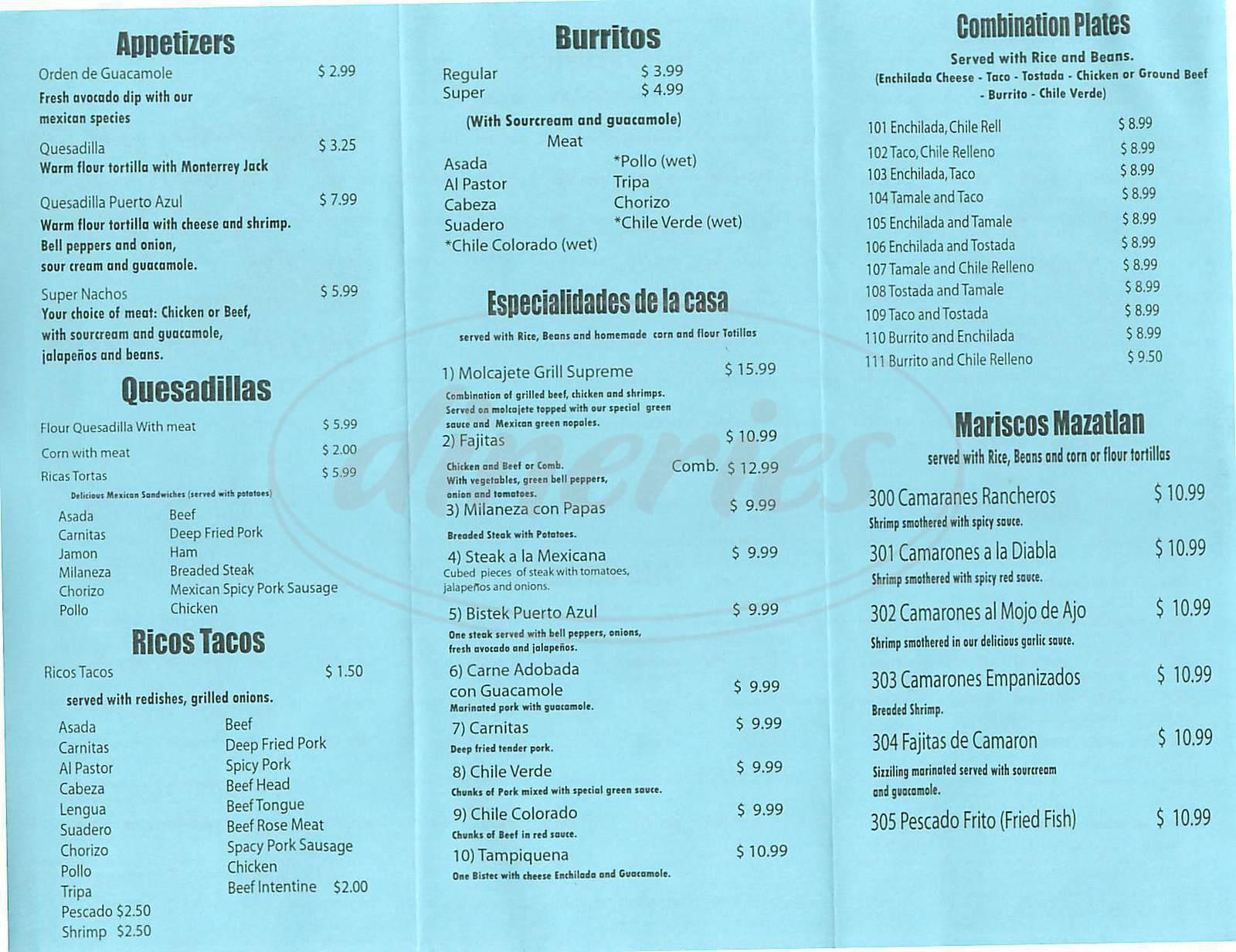 menu for Puerto Azul Restaurant
