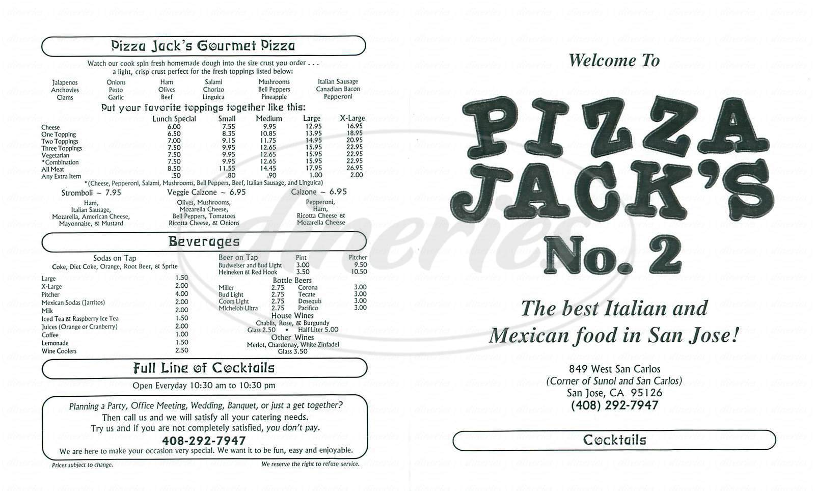 menu for Pizza Jacks No 2