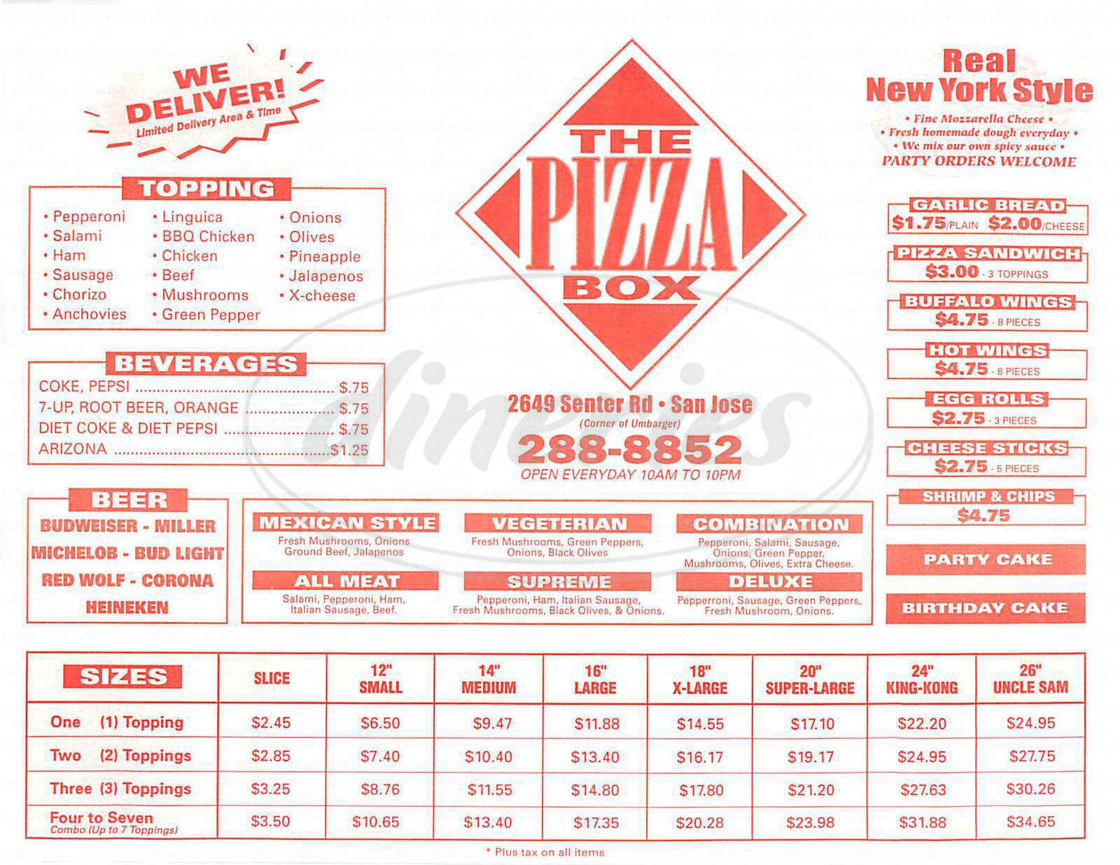 menu for Pizza Box