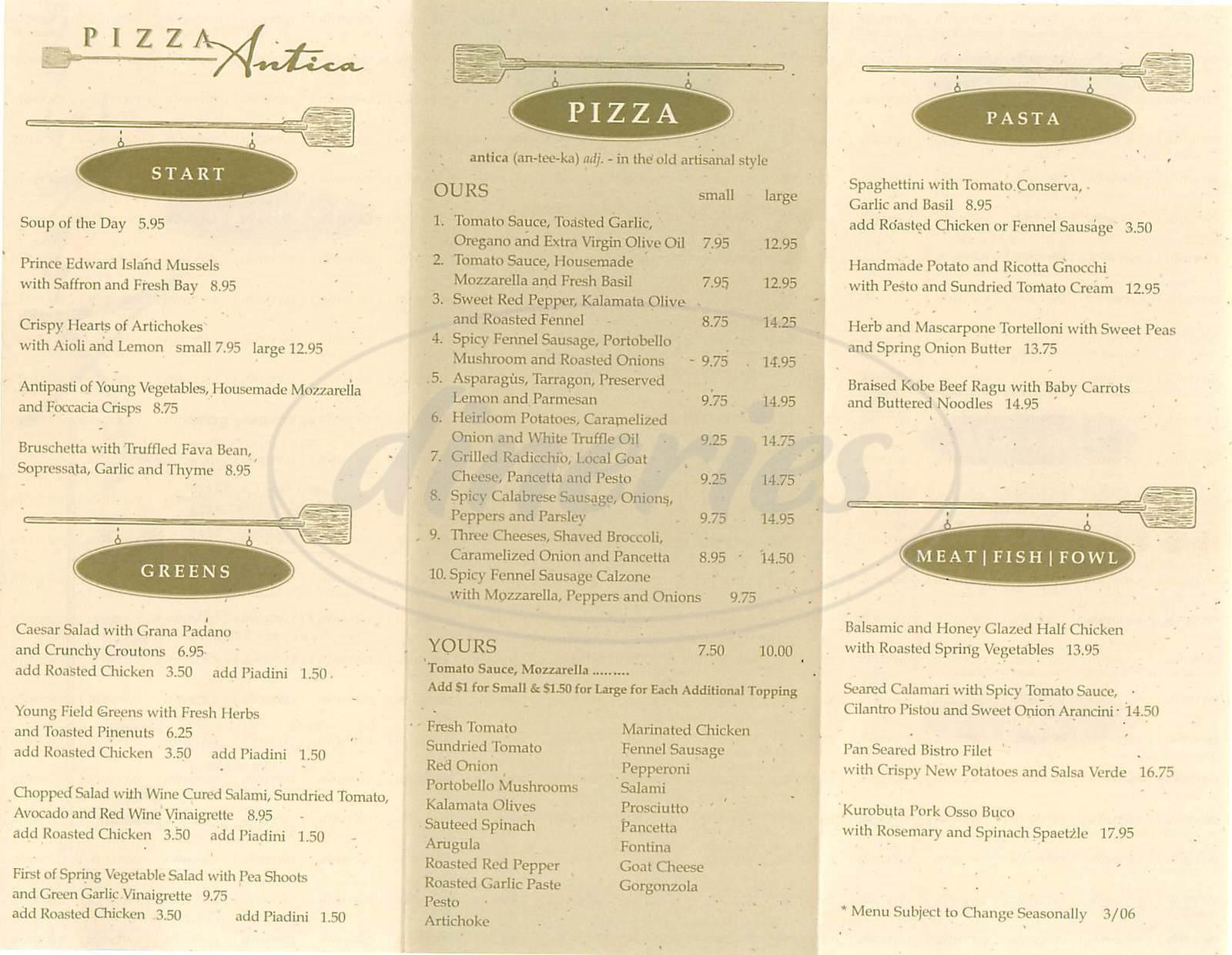 menu for Pizza Antica