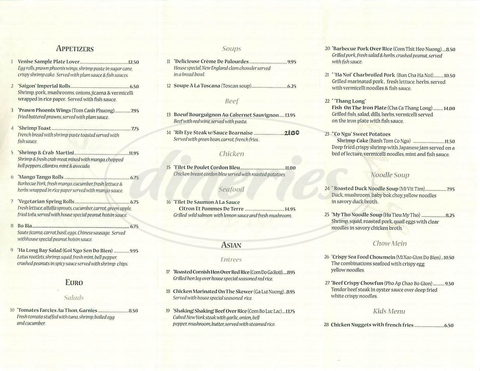 menu for Venise Restaurant
