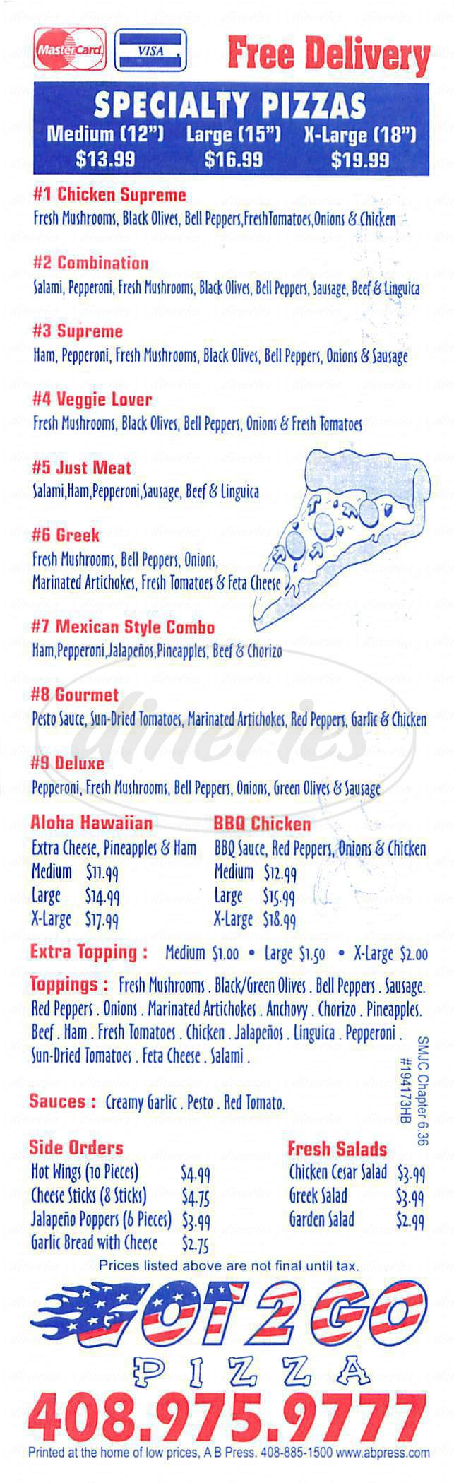 menu for Got 2 Go Pizza