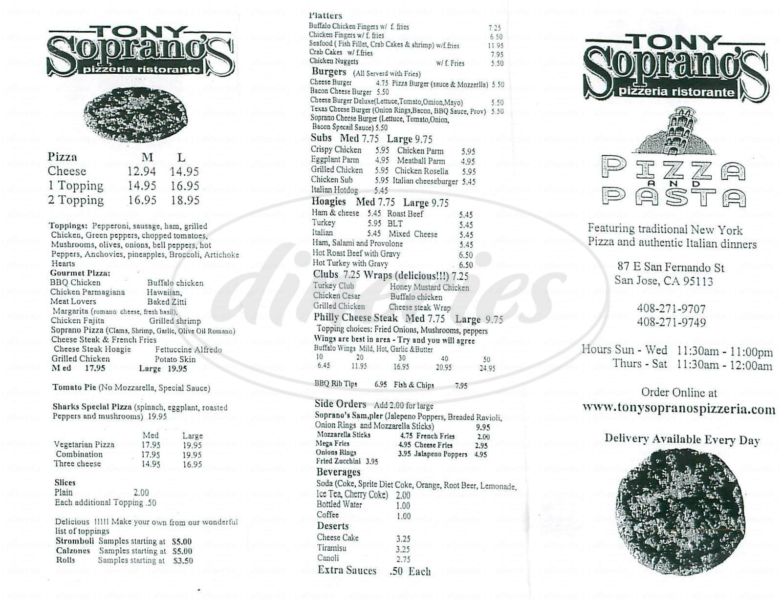 menu for Tony Sopranos Pizzeria
