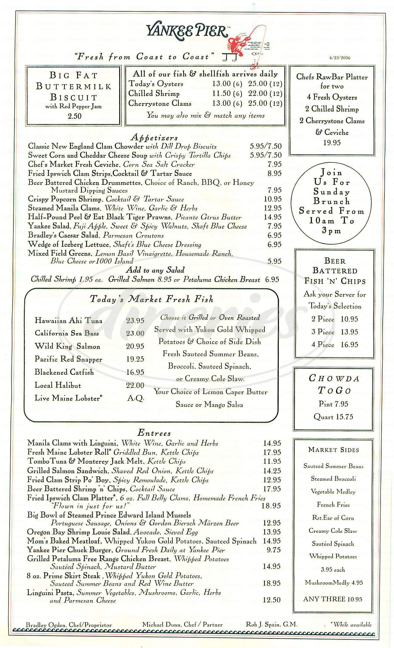 menu for Yankee Pier