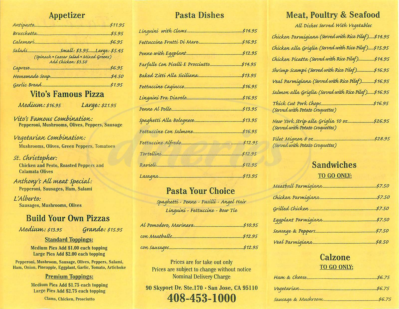 menu for Vitos New York Trattoria