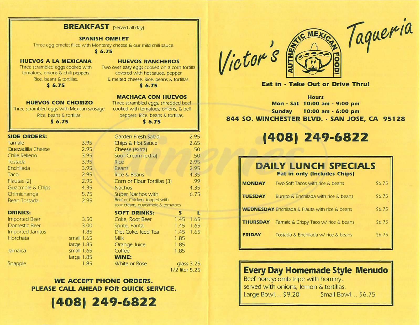 menu for Victors Taqueria