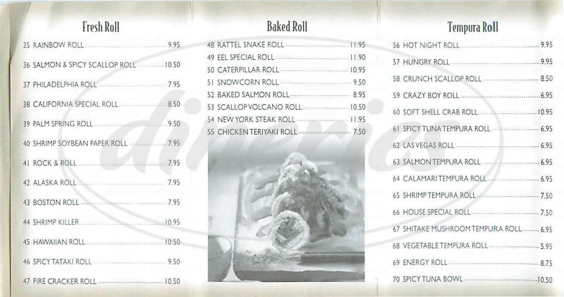 menu for California Roll & Sushi Fish