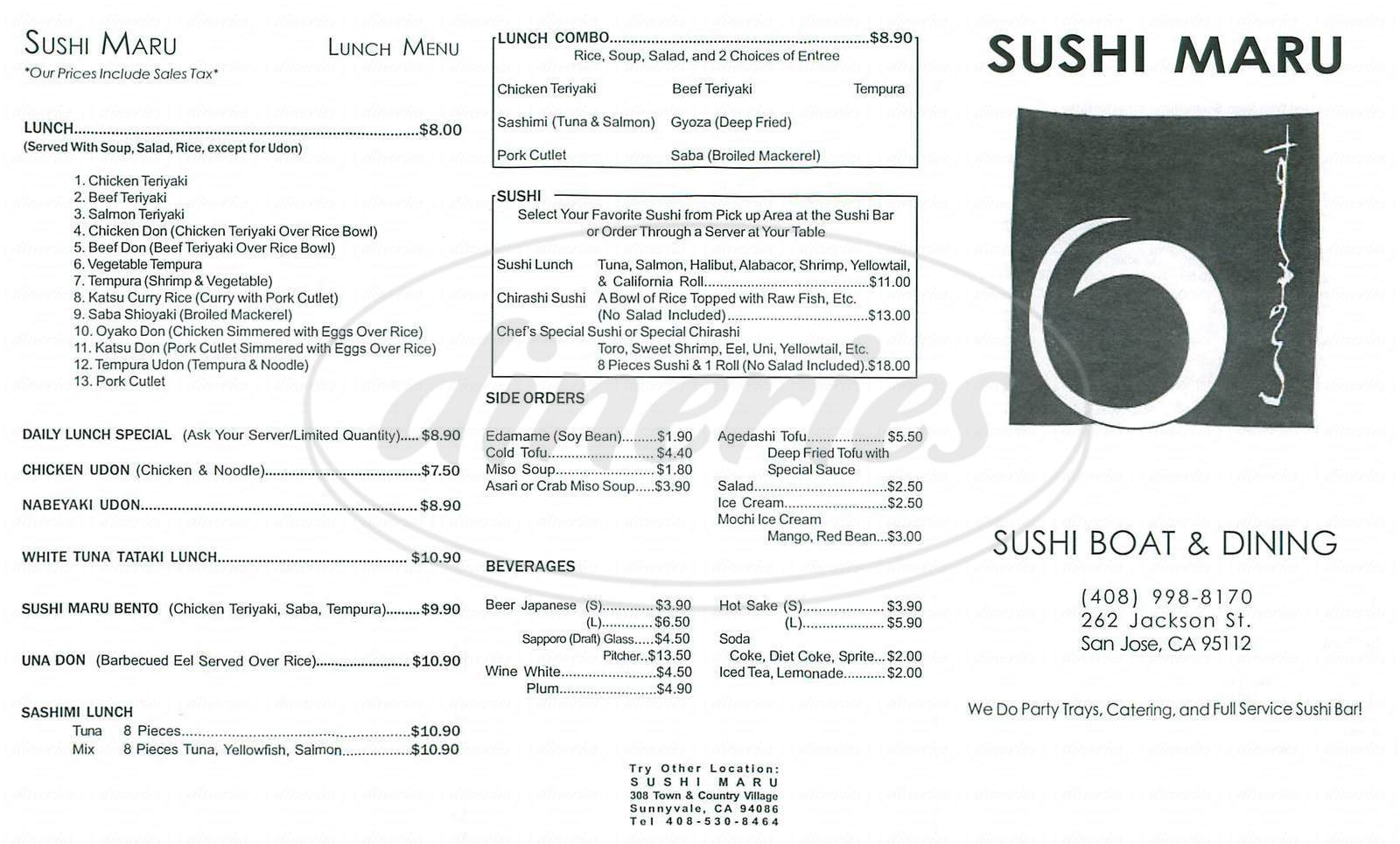 menu for Sushi Maru