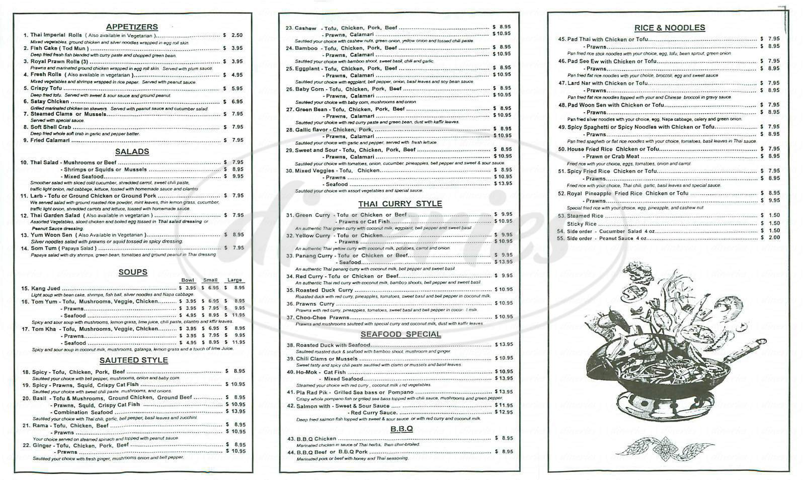 menu for Thai Orchid