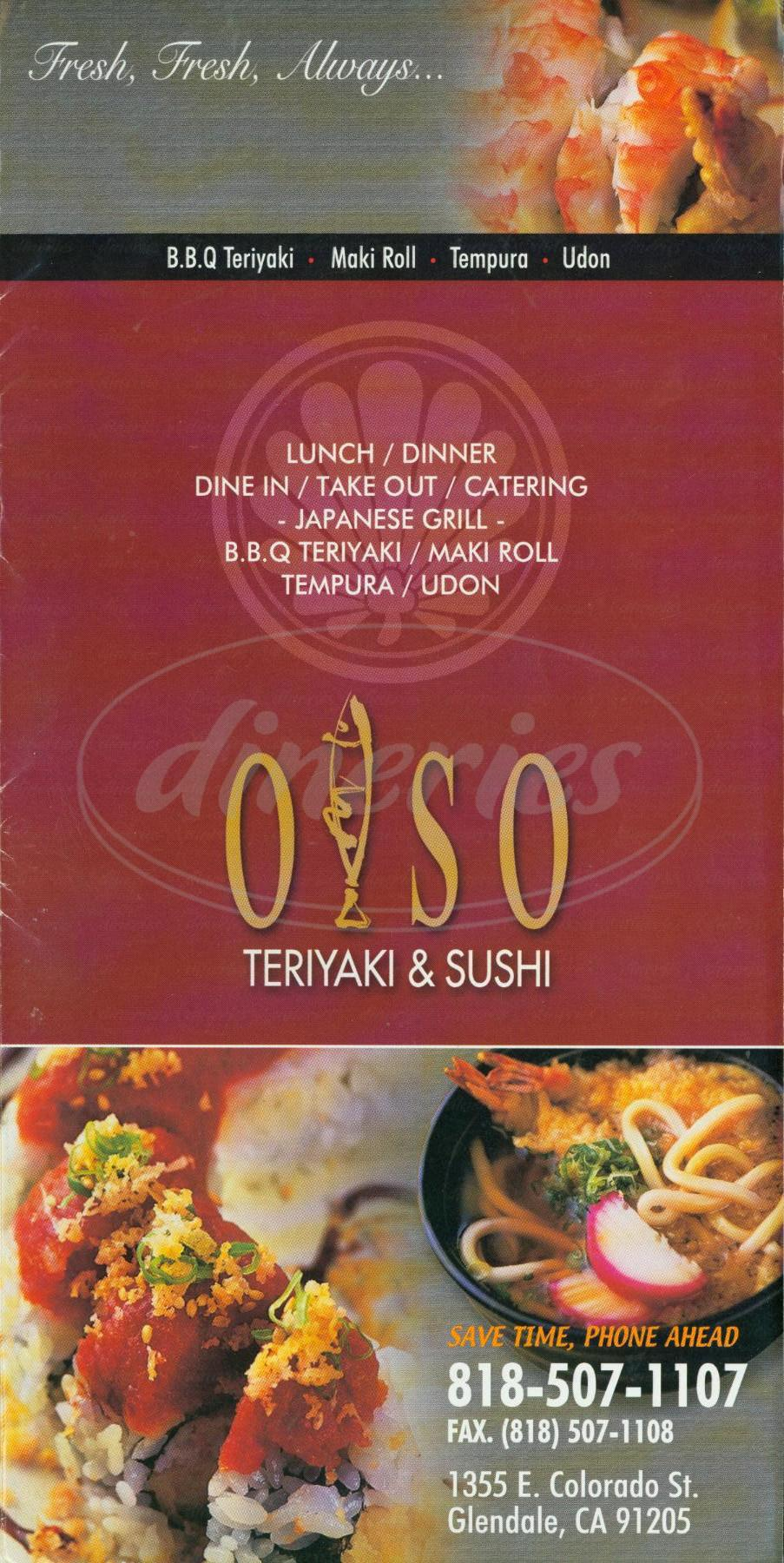 menu for Olso Teriyaki & Sushi