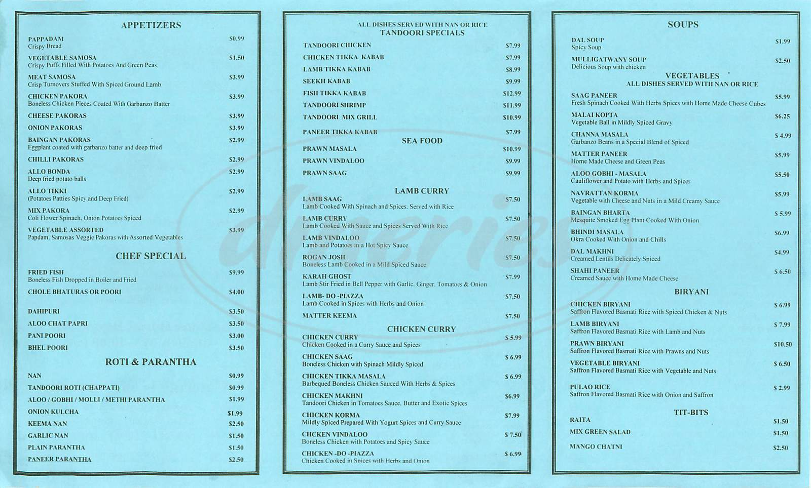 menu for Jewel of Indian