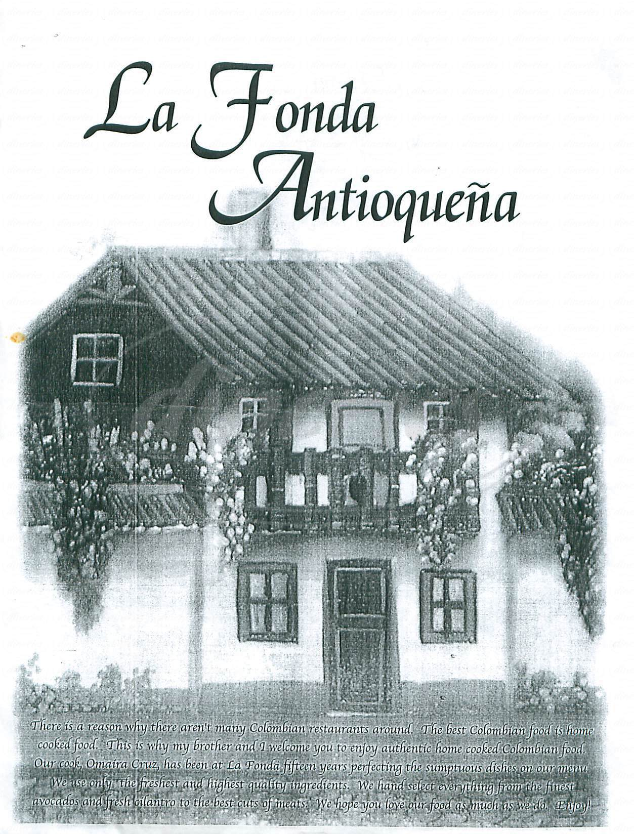 menu for La Fonda Antioquena