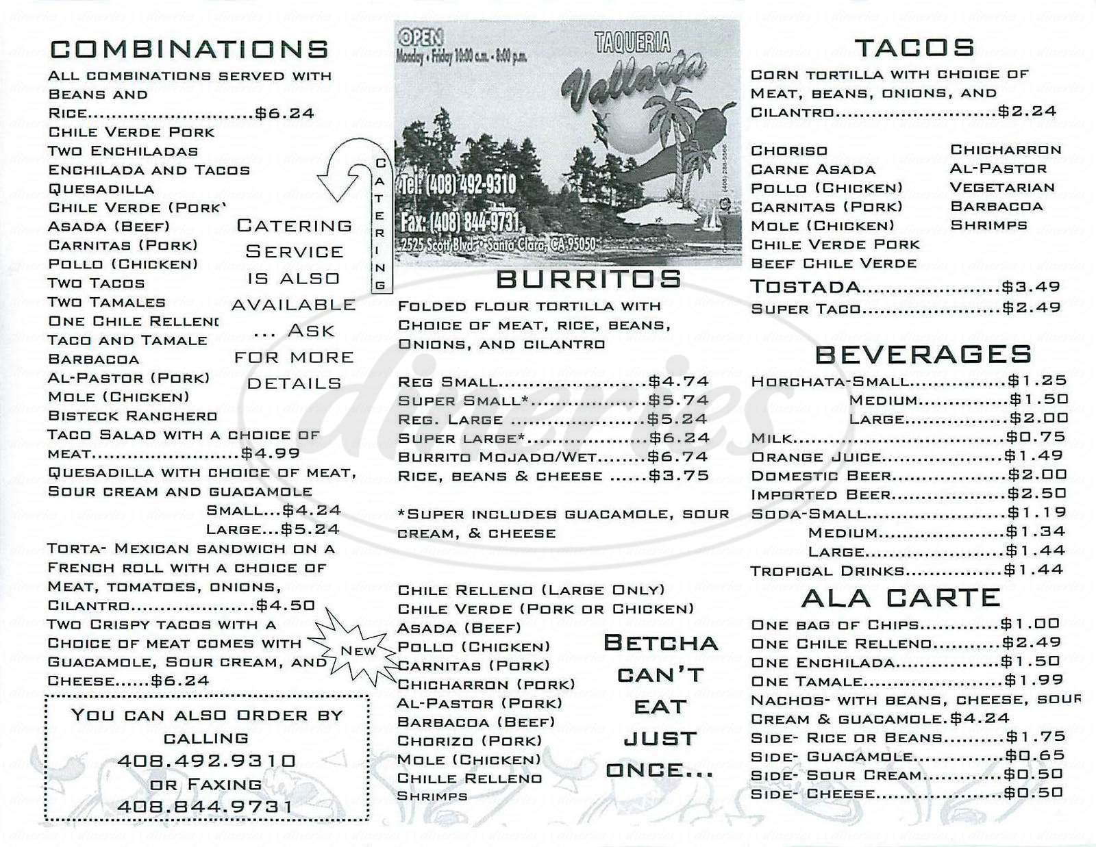 menu for Taqueria Vallarta