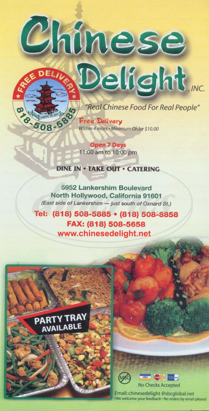 menu for Chinese Delight