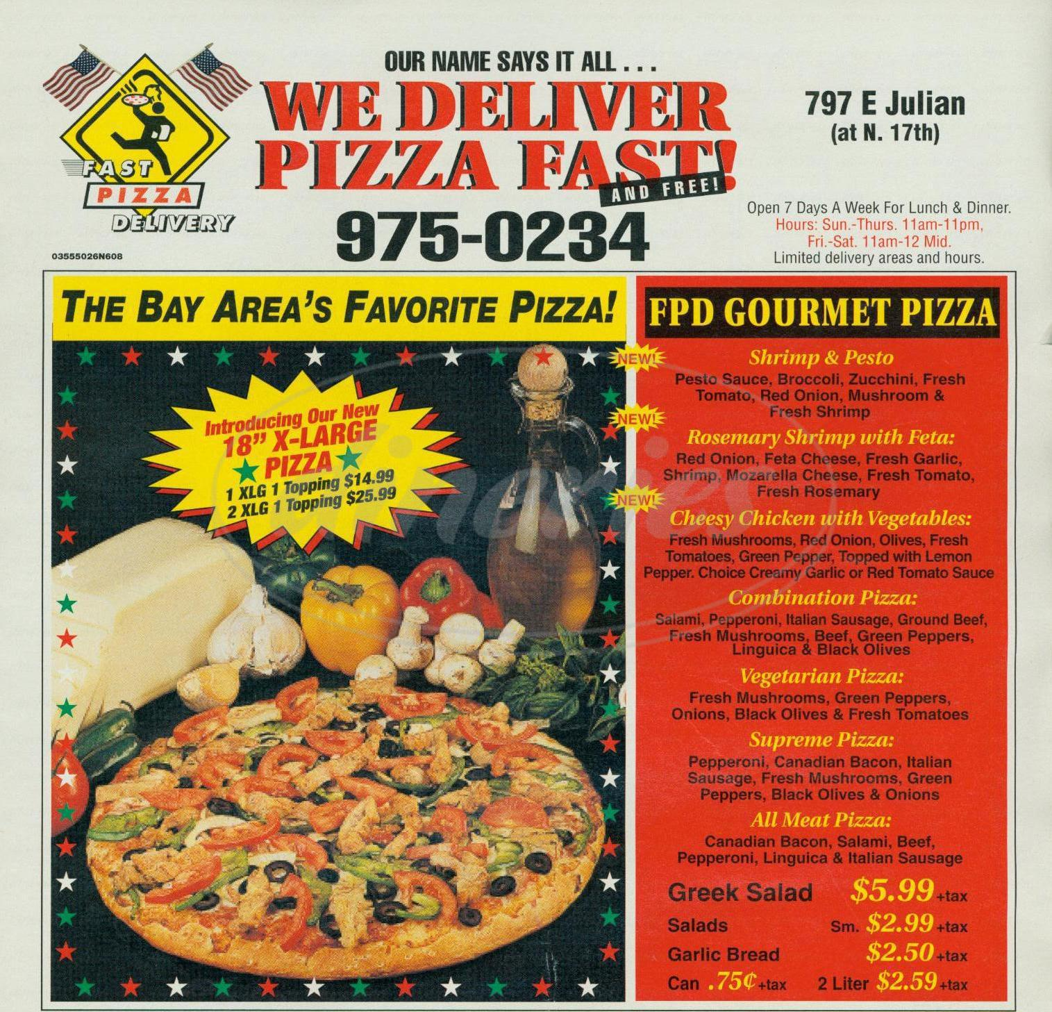 menu for Fast Pizza Delivery