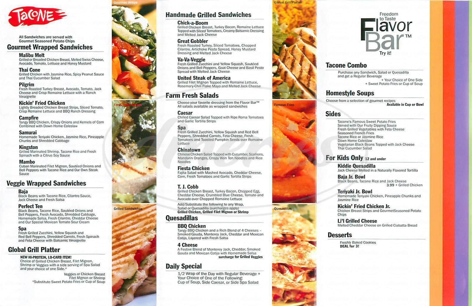 menu for Tacone