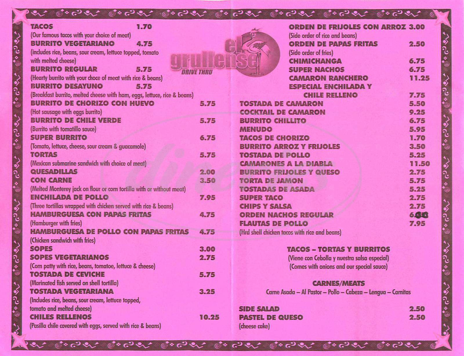 menu for El Grullense