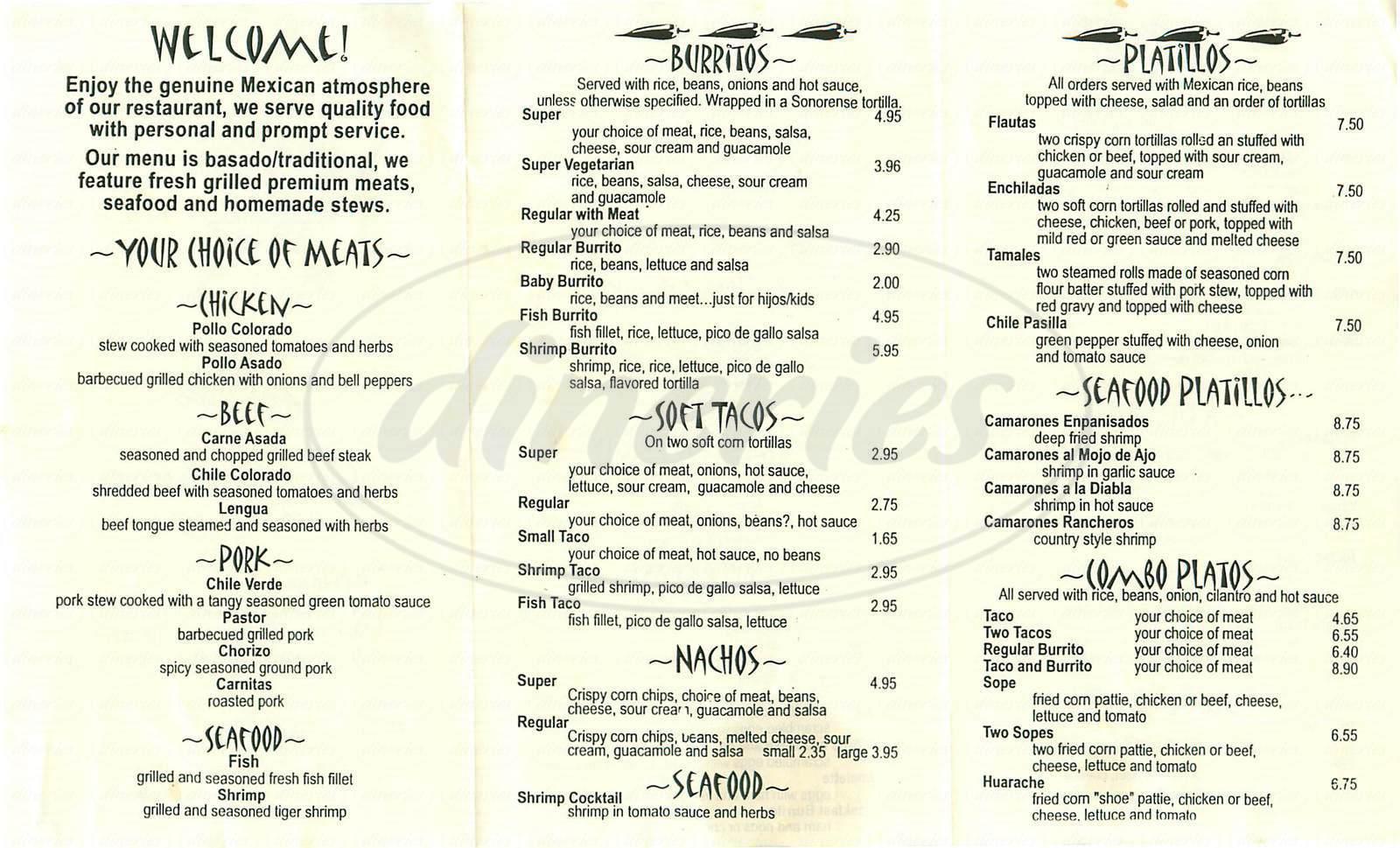 menu for El Sabroso Mexican Grill