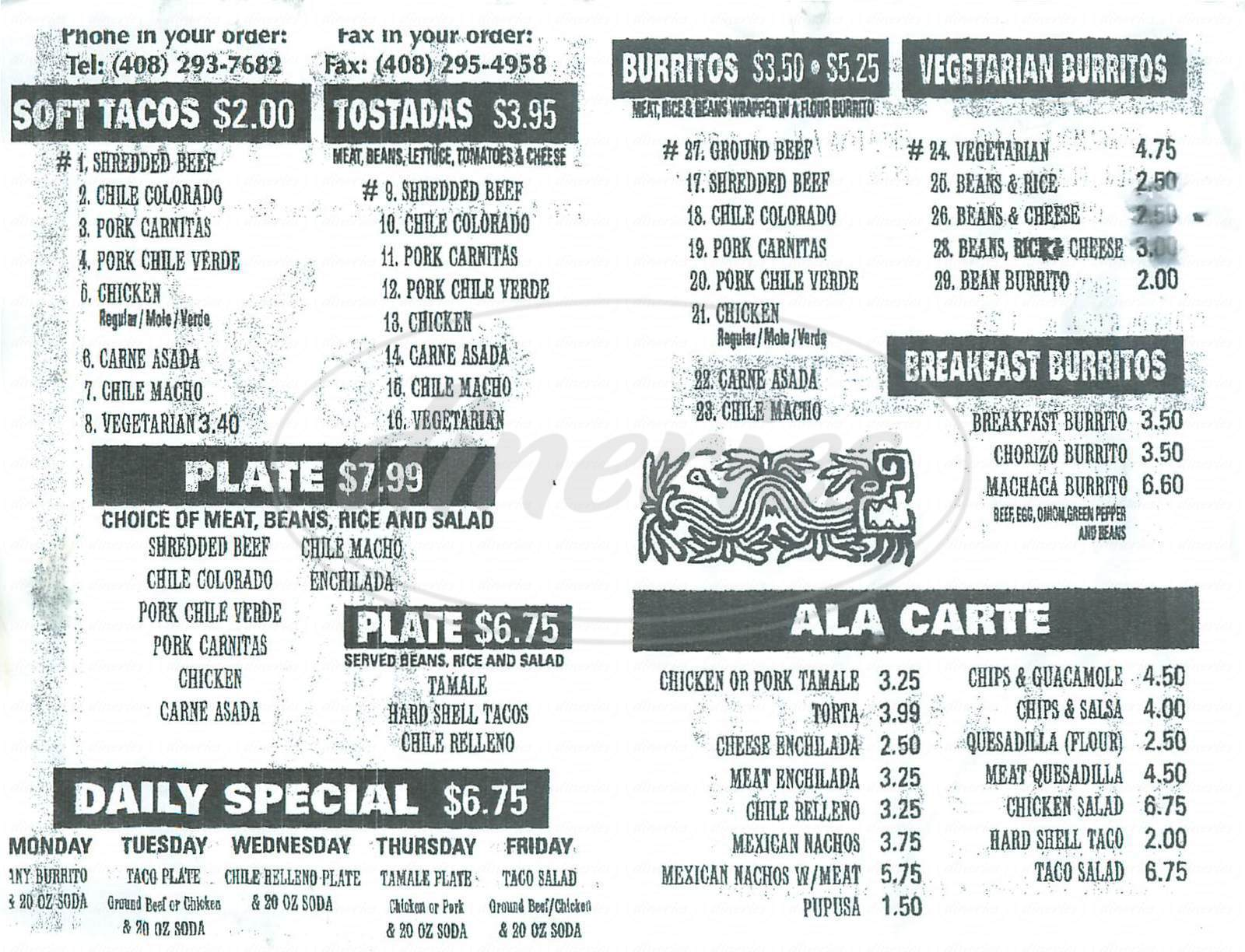 menu for El Tarasco Mexican Food