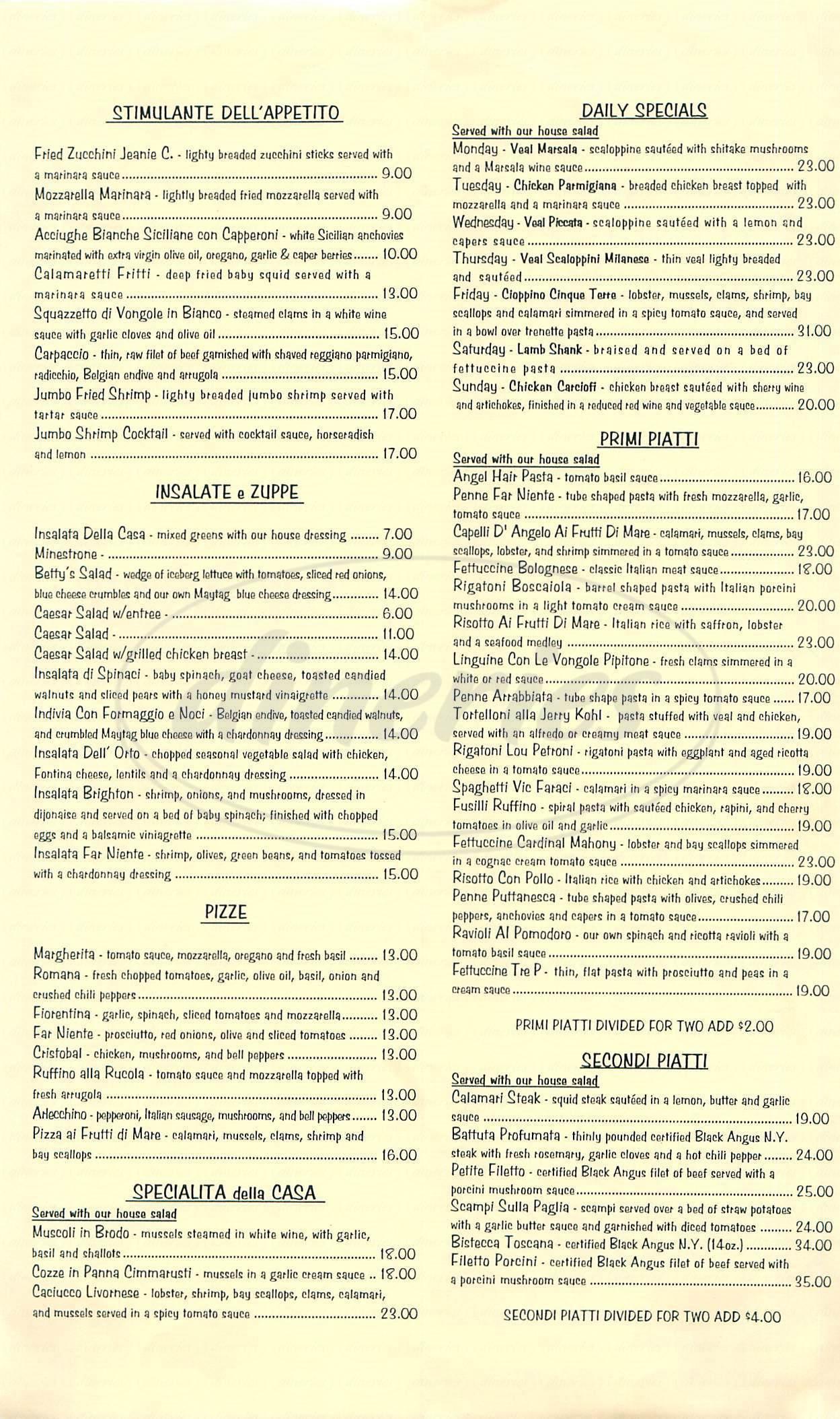 menu for Far Niente Ristorante