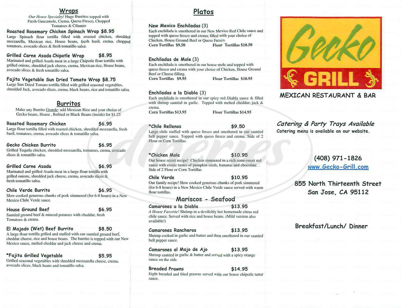 menu for Gecko Grill
