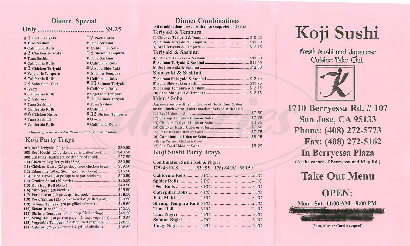 menu for Koji Sushi