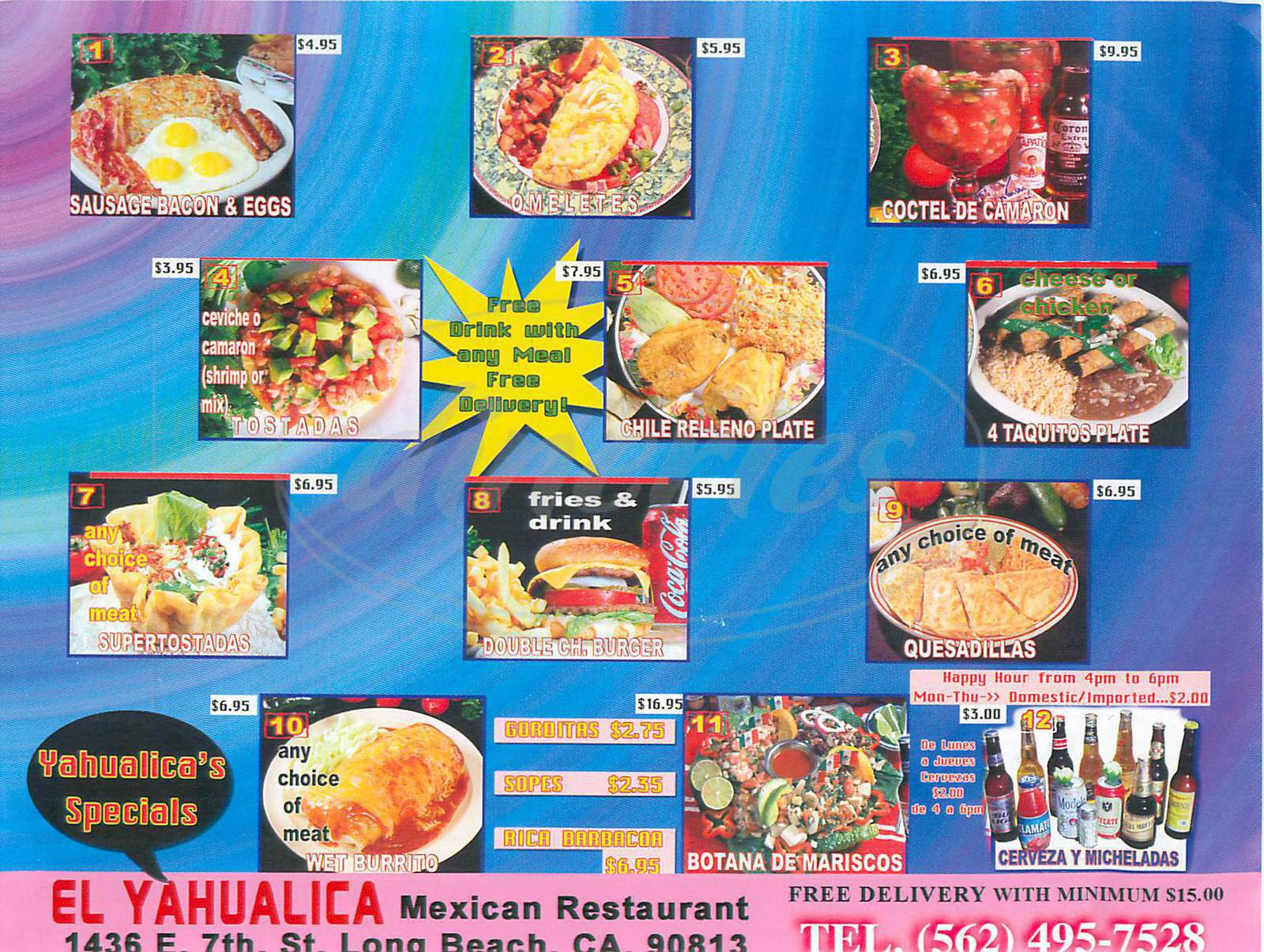 menu for El Yahualica
