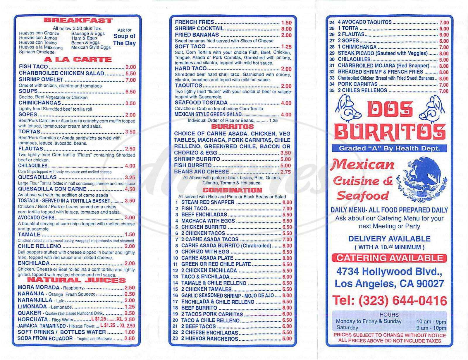 menu for Dos Burritos
