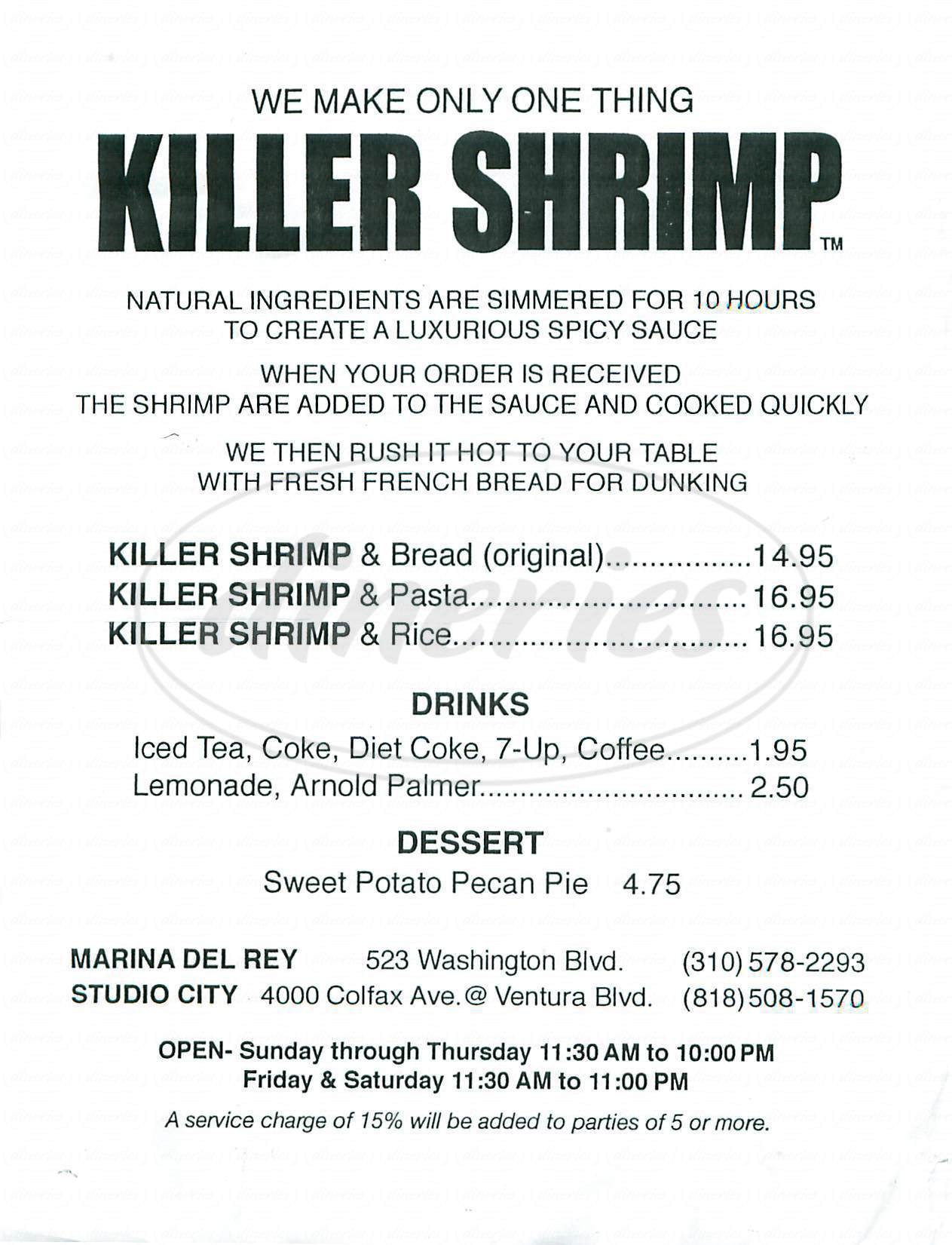menu for Killer Shrimp