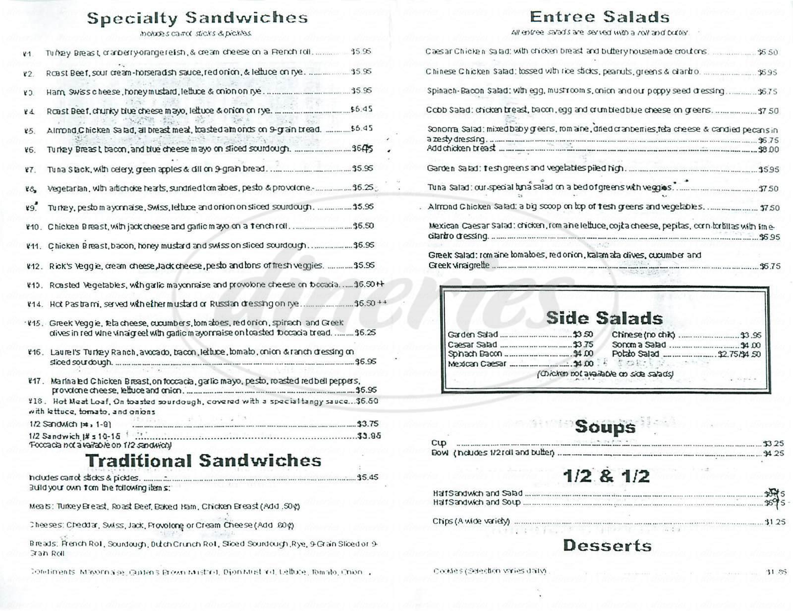 menu for Laurels Delights
