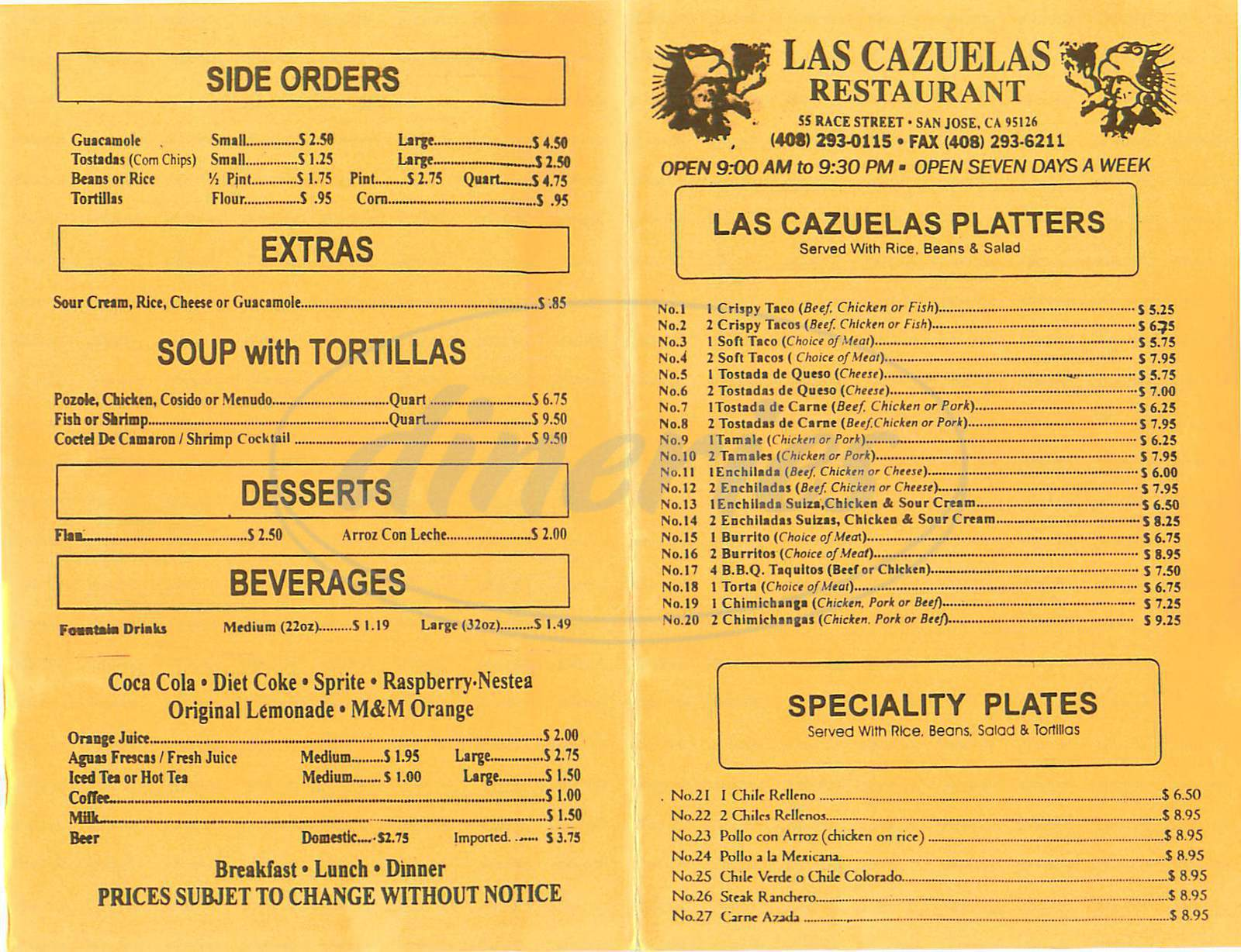 menu for Las Cazuelas Restaurant