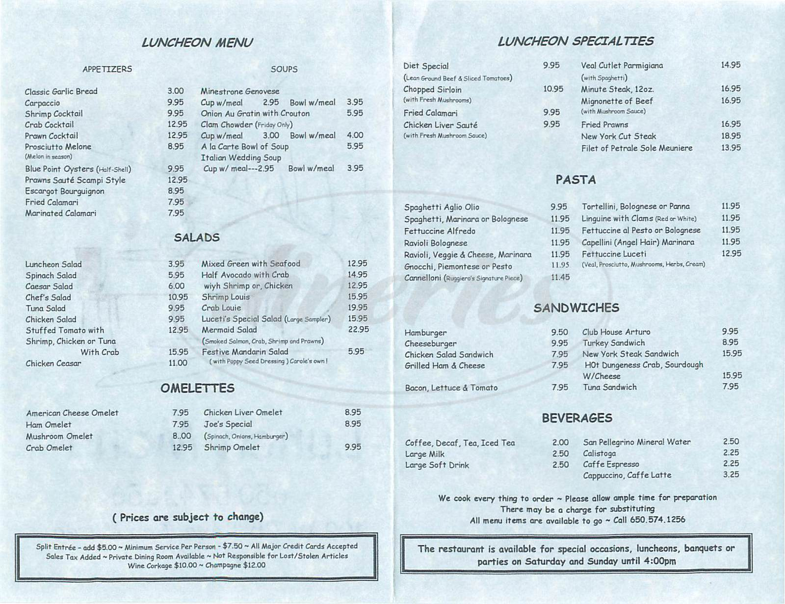 menu for Luceti's