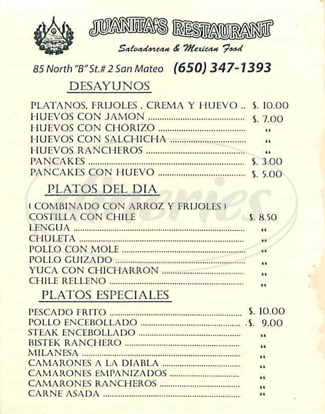 menu for Juanitas Restaurant