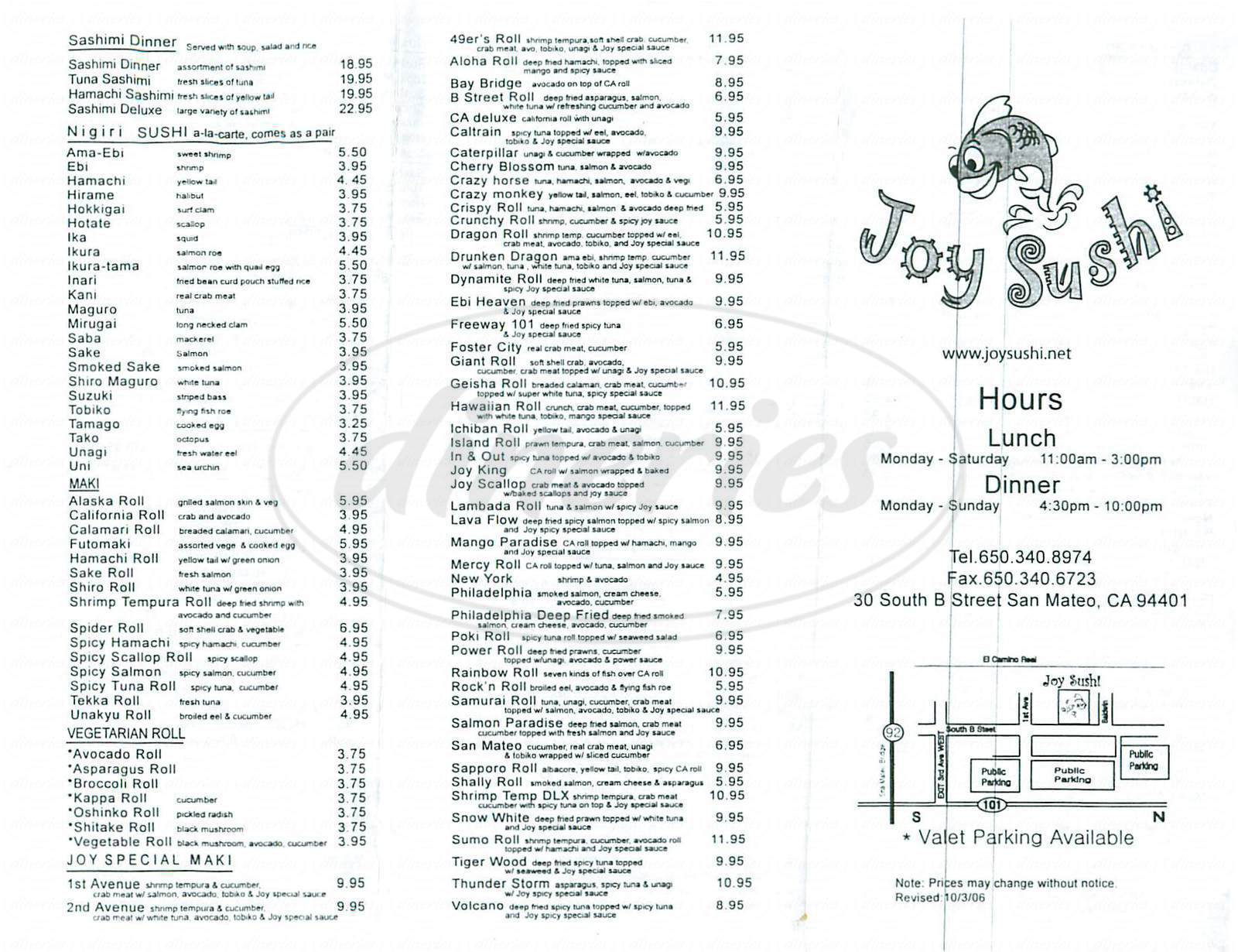 menu for Joy Sushi