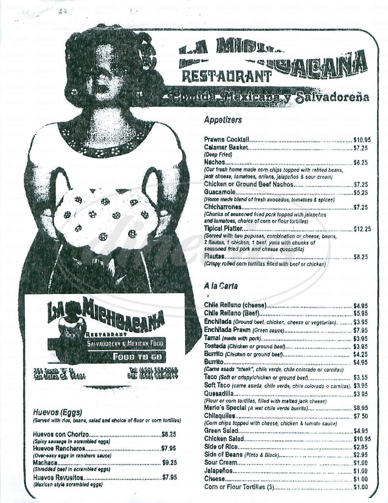 menu for La Michoacana