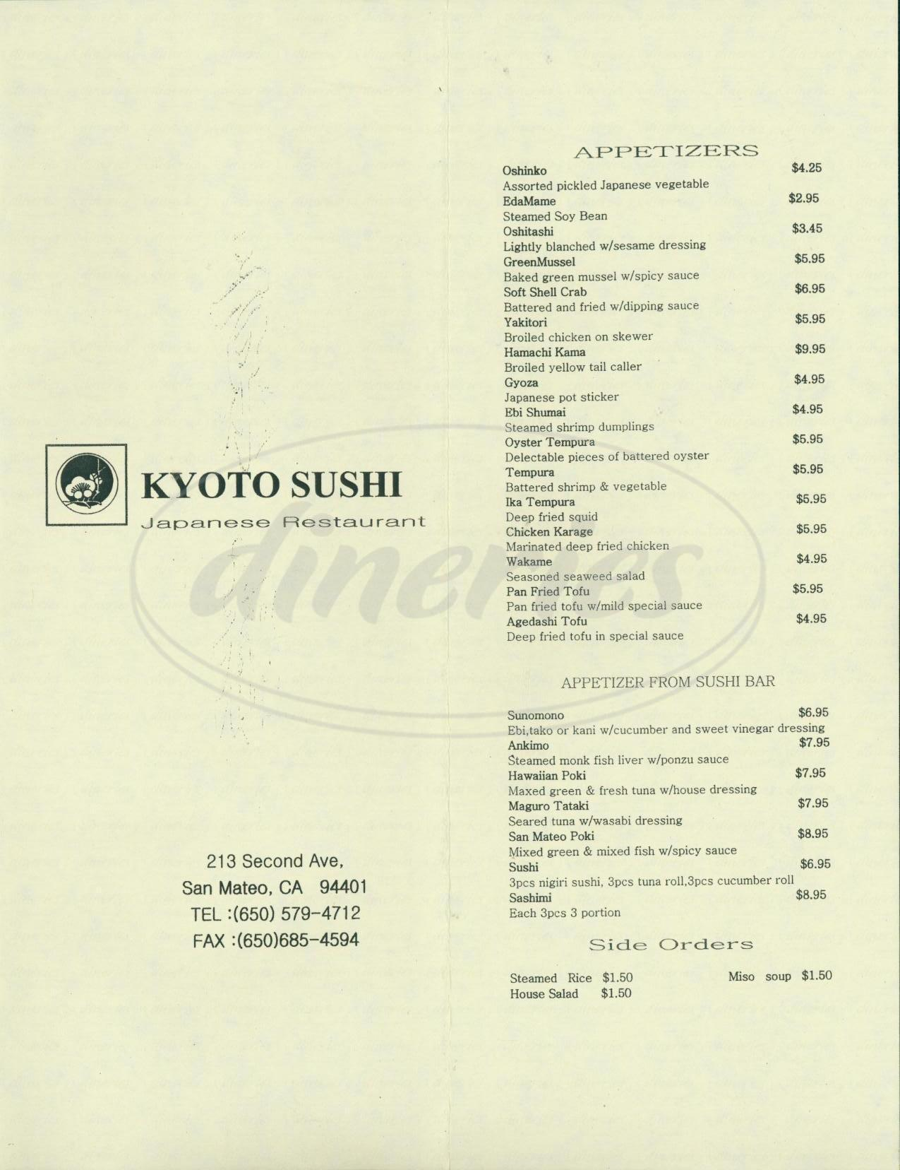menu for Kyoto Sushi