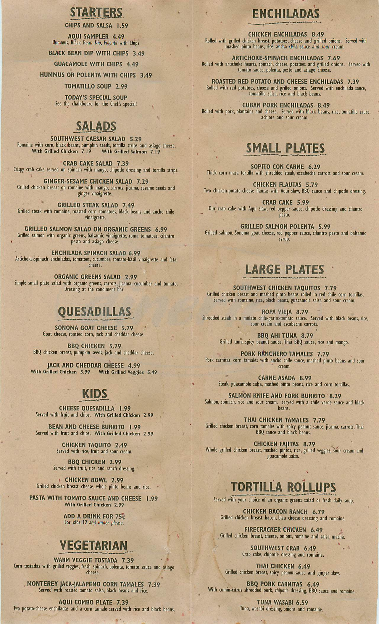menu for Aqui Cal Mex