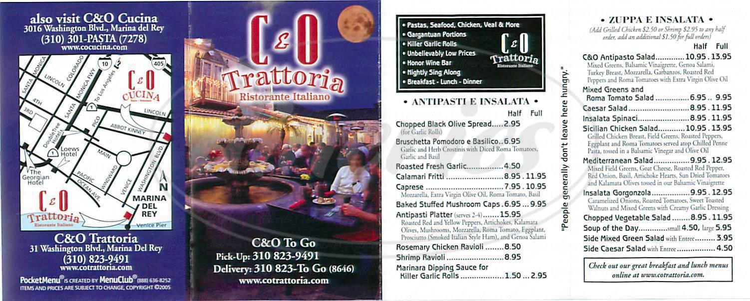 menu for C & O Trattoria