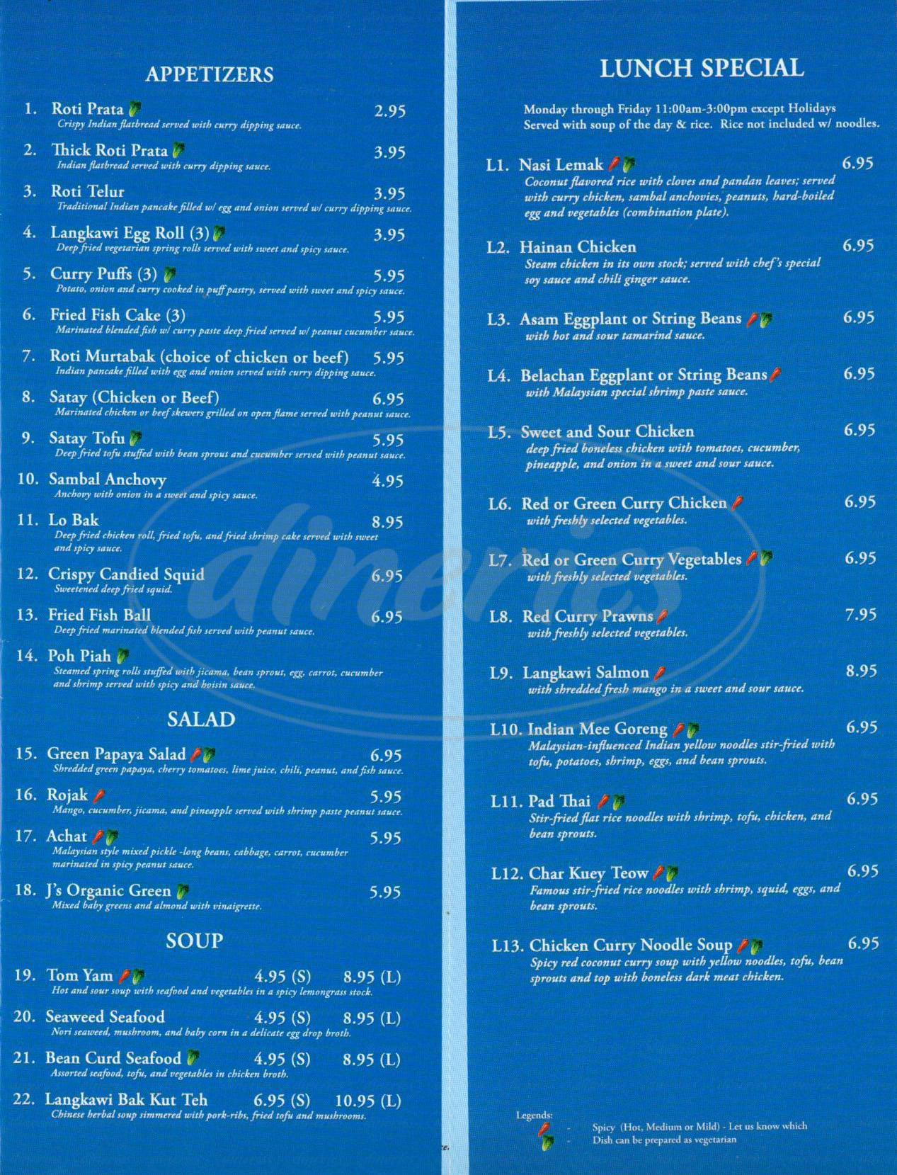 menu for Langkawi