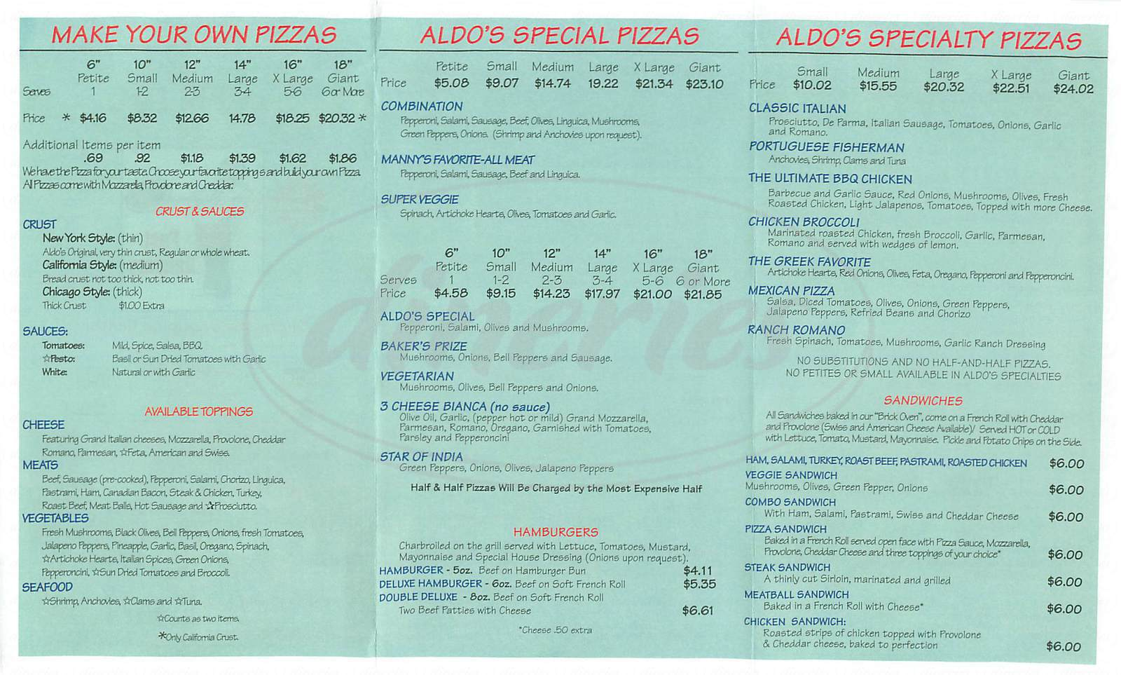 menu for Aldos Pizza