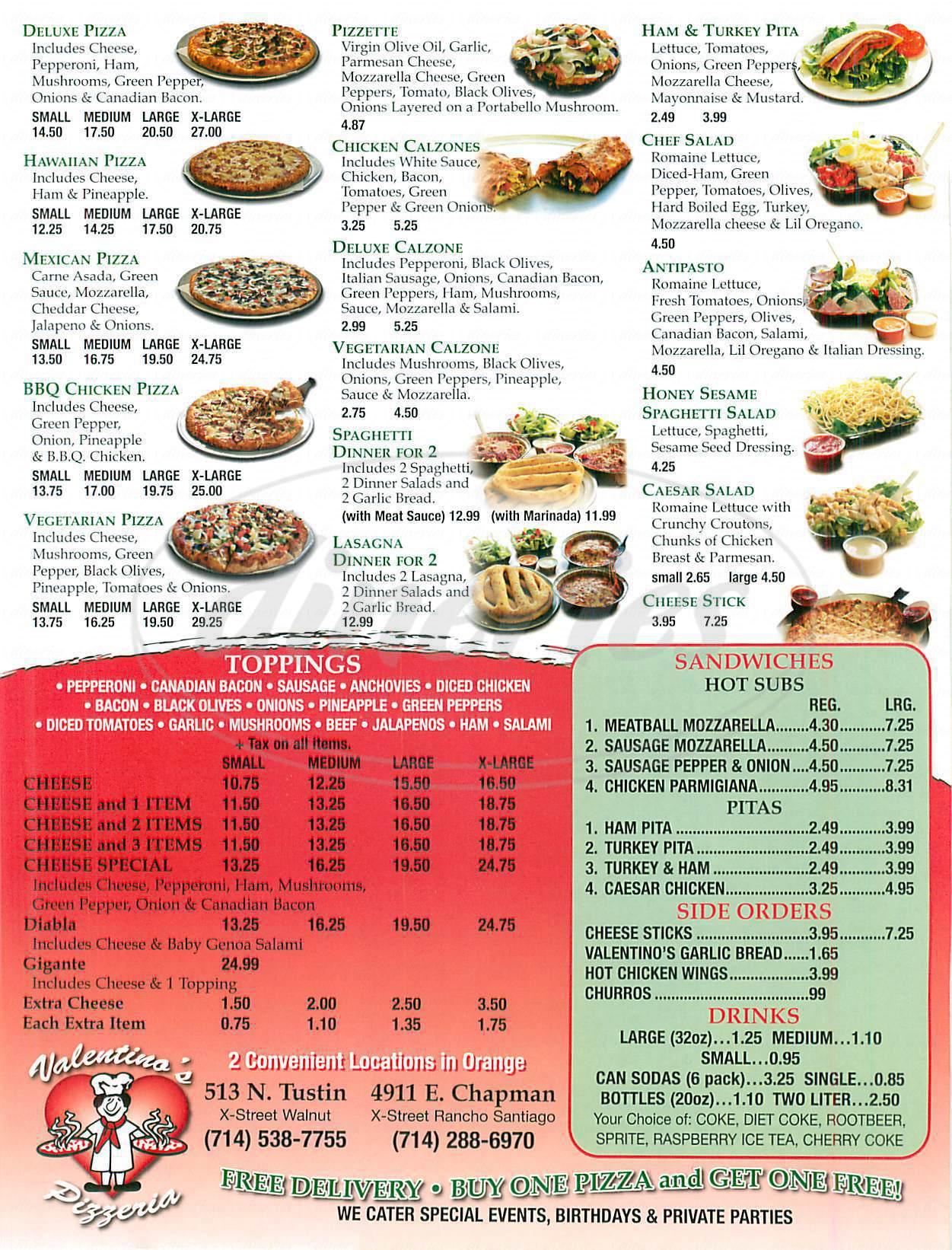 menu for Valentinos Pizza
