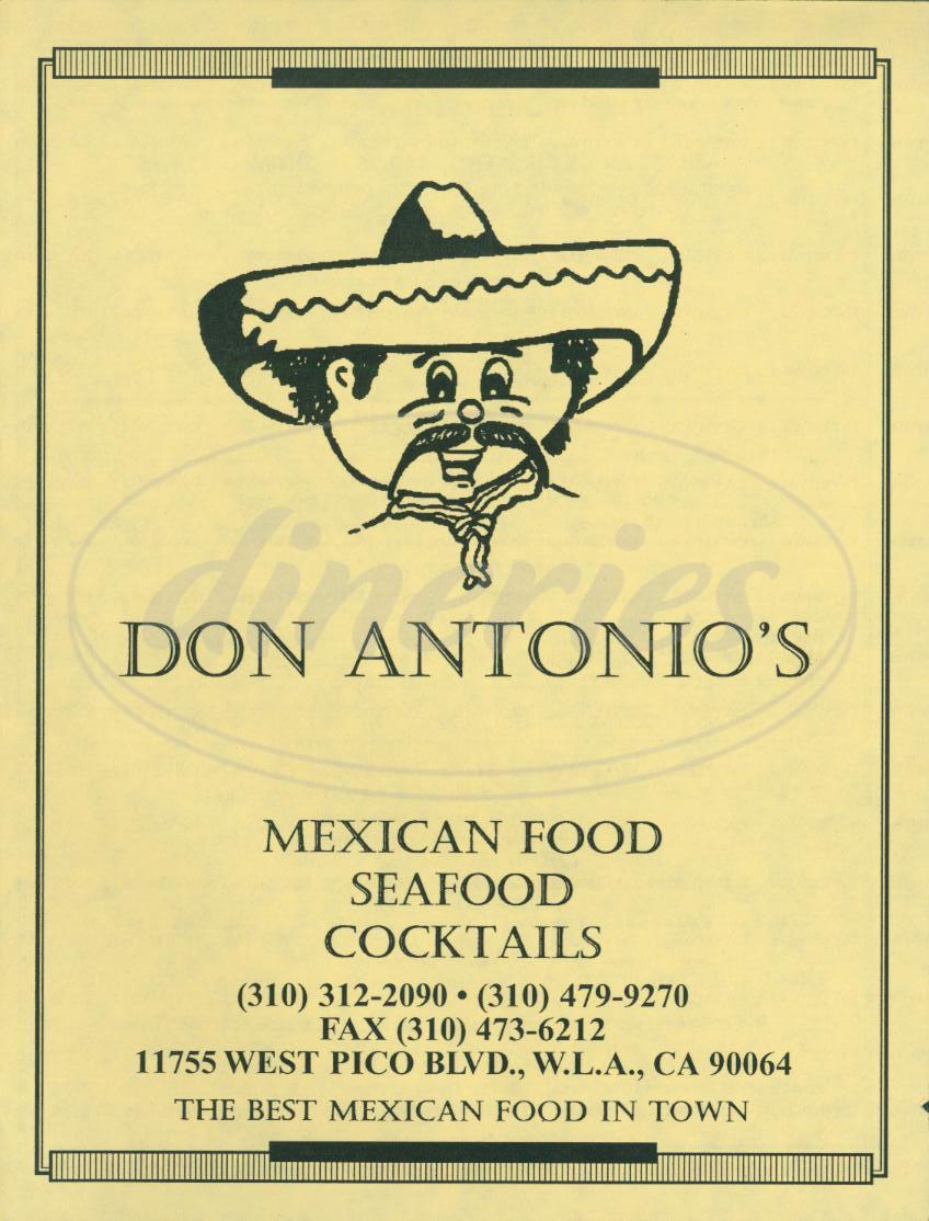 menu for Don Antonios