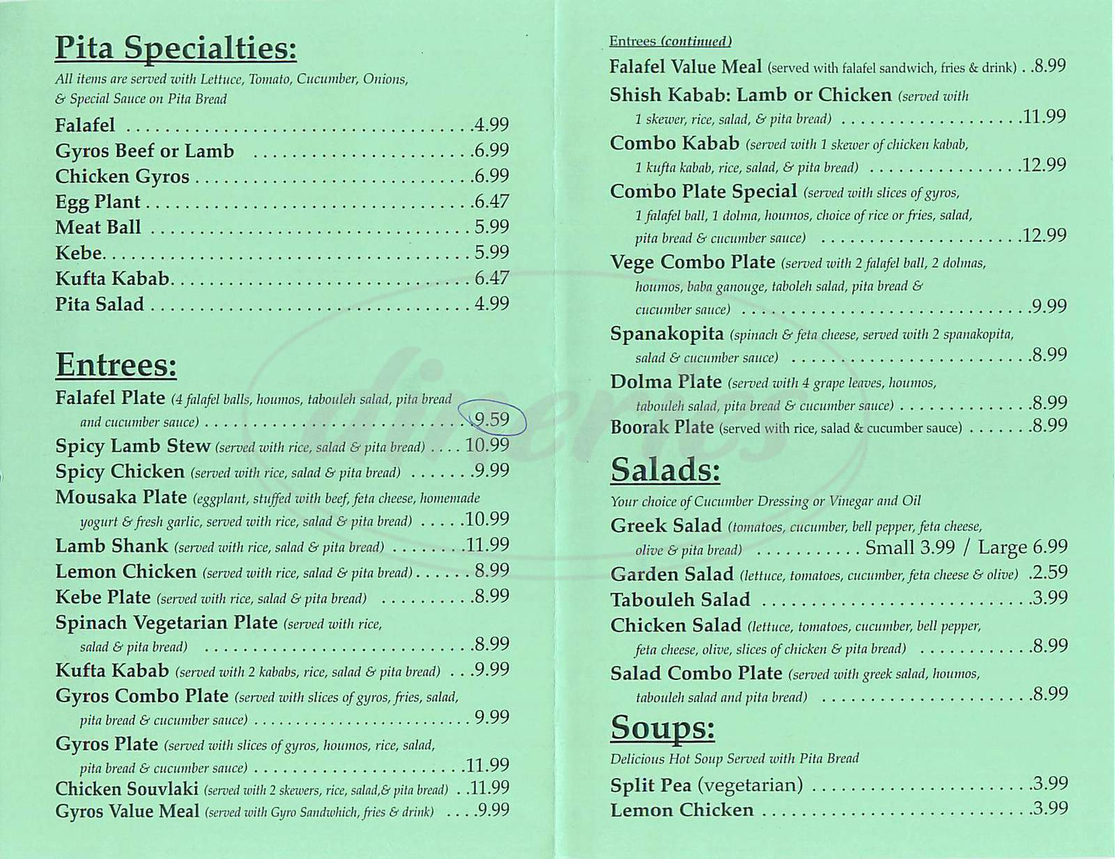 menu for Olives Greek Café