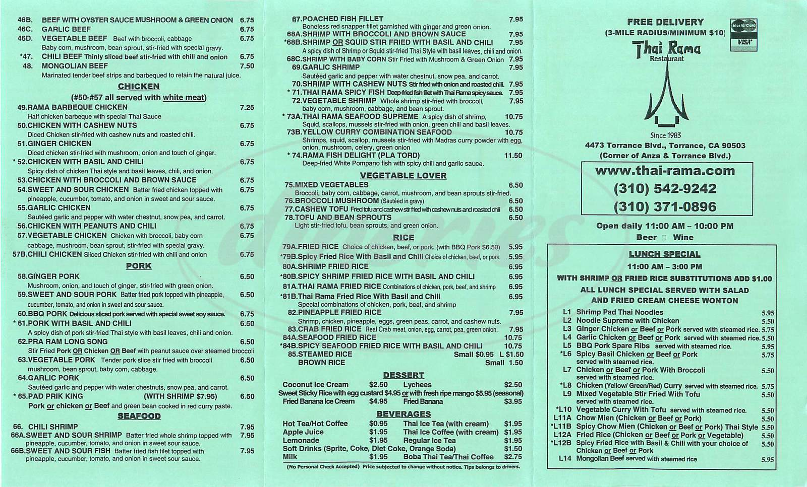 menu for Thai Rama Restaurant